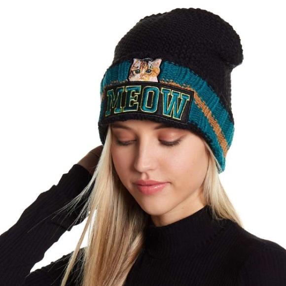 928e0a7ff Meow Kitty Cat Varsity Knit Beanie Hat NWT